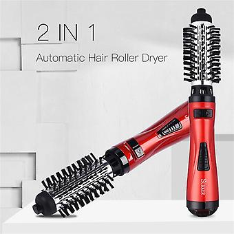 2 In 1 Rotating Brush Hair Dryer Hot Air Styler Comb Curling Iron Roll Styling Brush(Red)