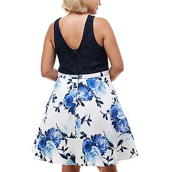 Şehir Stüdyoları Plus Boyutları Trendy Plus Size Dantel & Çiçek Baskılı Fit & Flare Elbise