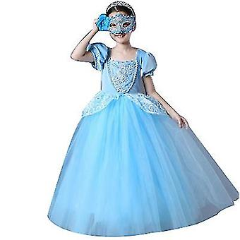 Girls Princess Dress Fancy Costume Role Play Ball Gown Halloween Party Dress Up(130cm)
