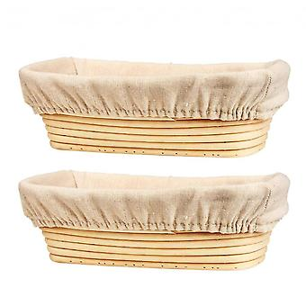 13 Inch Bread Proofing Basket Set Of 2 With Linen Liner, Oval Banneton