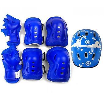 6-piece Skate Protective Gear Set, Universal Helmet Combo Set(Blue)