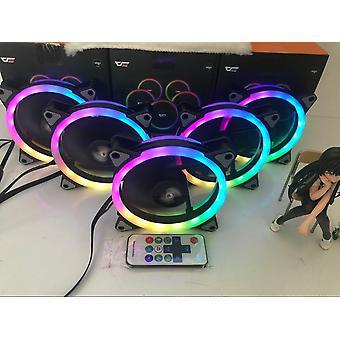 Cooling fan rgb adjustable speed adjust led 12cm double halo pc computer cooler