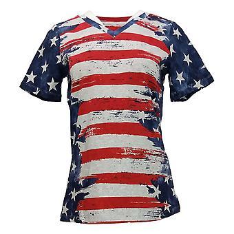 الدنيم وشركاه المرأة الأعلى العلم الأمريكي طباعة قصيرة الأكمام الأزرق A291647