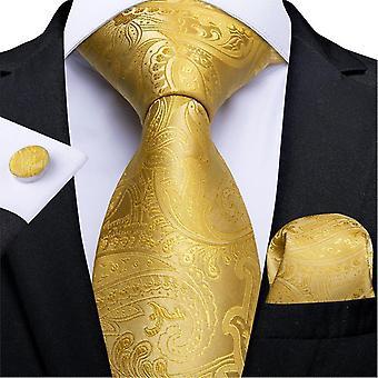 Neckties الفاخرة مخطط بيزلي الحرير الزفاف التعادل dibangu مصمم hanky أزرار الأكمام التعادل