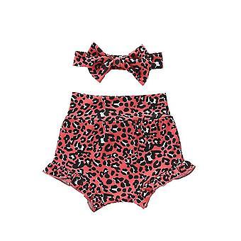 Ruffles High Waist Leopard/floral Print Shorts And Headband For Newborn