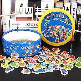 Wooden Fishing Toy Magnetic Baby Digital Alphabet Educational