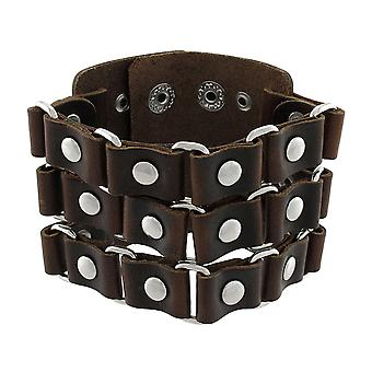 Brown Leather Link and Chrome Rivet Wide Wristband Bracelet
