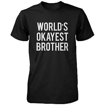 男性の面白い黒グラフィック大胆な声明の t シャツ - 世界の Okayest の弟