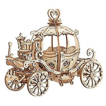 Wooden blocks creative pumpkin cart 3d wooden puzzle model diy assembly princess carriage kids games toys for