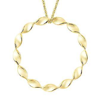 Rachel Galley Sandblast Textur Twist Kreis Halskette in vergoldetem Silber 30''