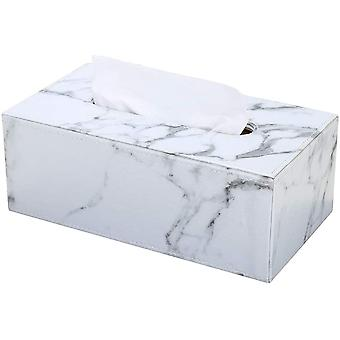 Rectangular Pu Leather Tissue Box Holder, Facial Tissue Case Napkin Dispenser For Home Office Car Automotive Decoration(gray Marble)