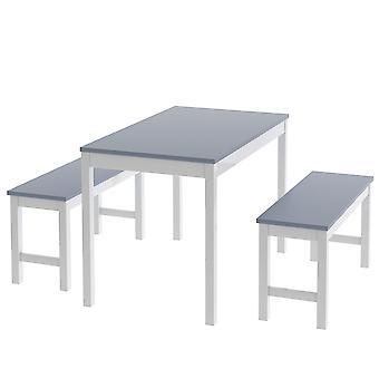 ダイニングテーブルとベンチセット3つのソリッドパイン