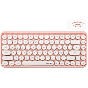 Wireless Bluetooth Keyboard, Mini Portable 84-key Typewriter Retro Circular Keycap Keyboard, Compatible With Android, Windows, Pc, Tablet (pink)