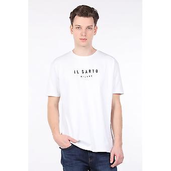 menns hvite mannskap nakke t-skjorte