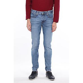 Menns Blå Pique Jeans