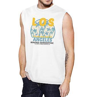 لوس أنجليس الشواطئ الأبيض رجالي تصميم خمر العضلات كوم القطن