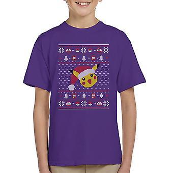 Kerst Pikachu brei patroon Pokemon Kid's T-Shirt