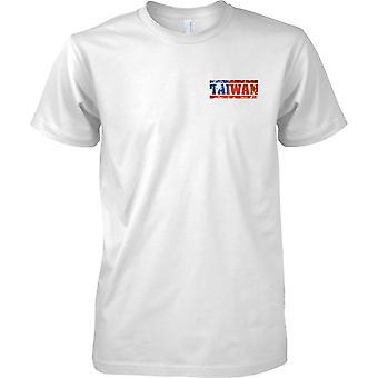 Efecto bandera de Taiwán Grunge país nombre - hombres pecho diseño camiseta
