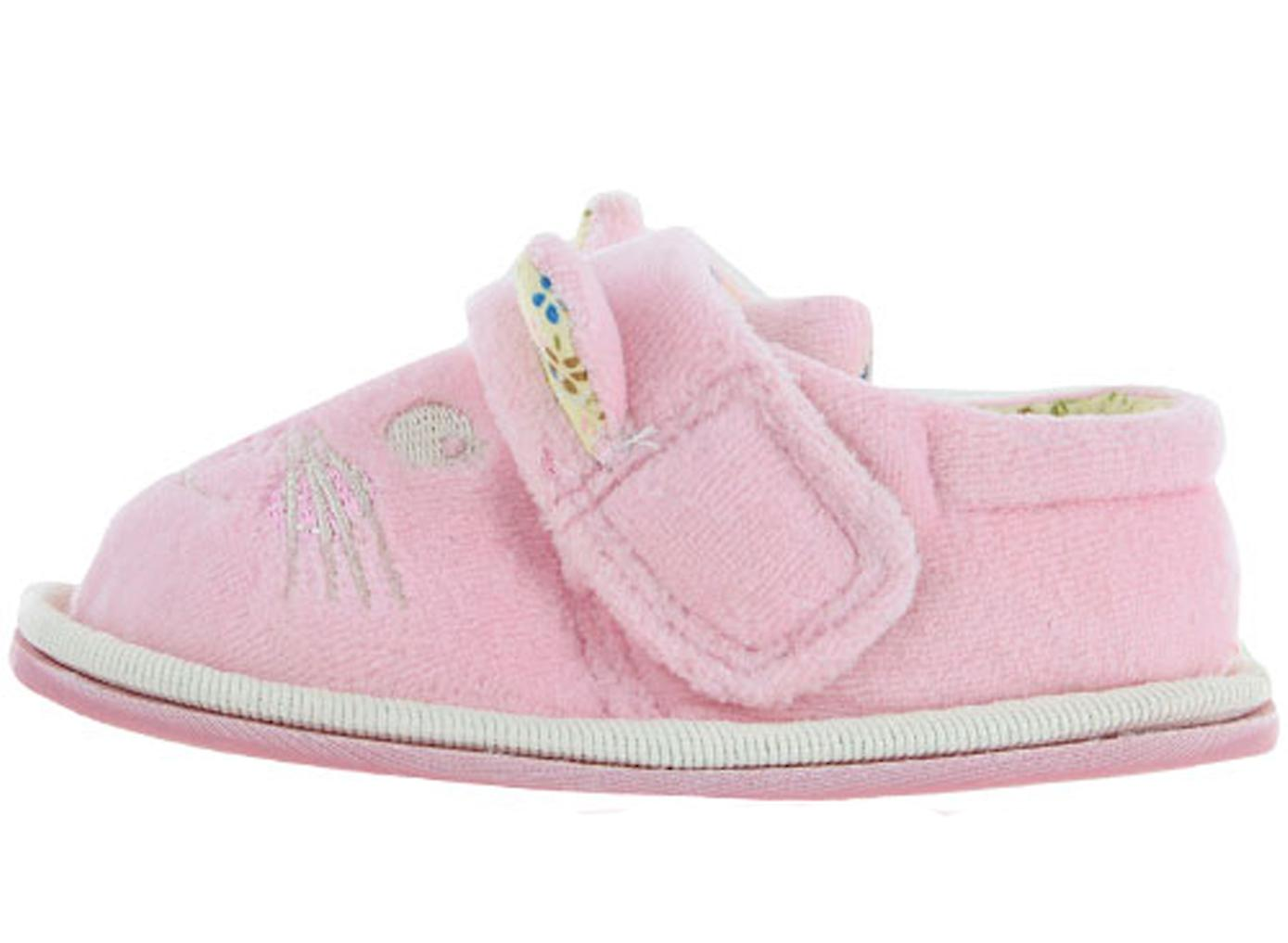 Young girls pink cat slippers