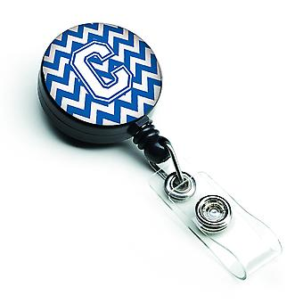 Letter C Chevron Blue and White Retractable Badge Reel