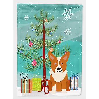 Carolines Treasures  BB4225GF Merry Christmas Tree Corgi Flag Garden Size