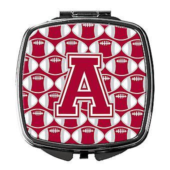 حرف A لكرة القدم قرمزي، مرآة مدمجة رمادي وأبيض