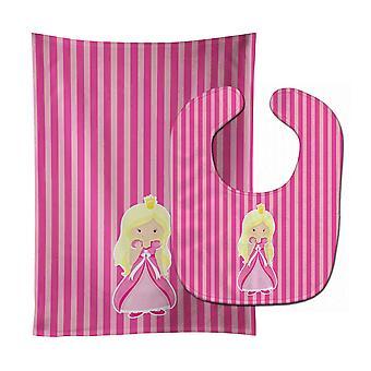 Carolines Treasures  BB8755STBU Blonde Girl Princess Wendy Baby Bib & Burp Cloth