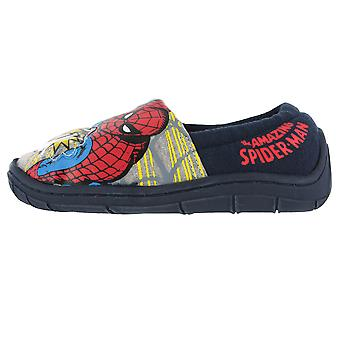 Boys Spiderman Flashing Badge Red & Blue Elasticated Slippers Kids Various Sizes