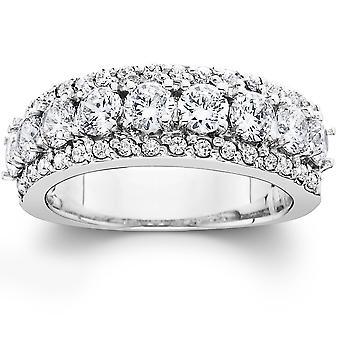 1 1/2 ct ダイヤモンド結婚指輪レディース周年バンド 14 k ホワイトゴールド