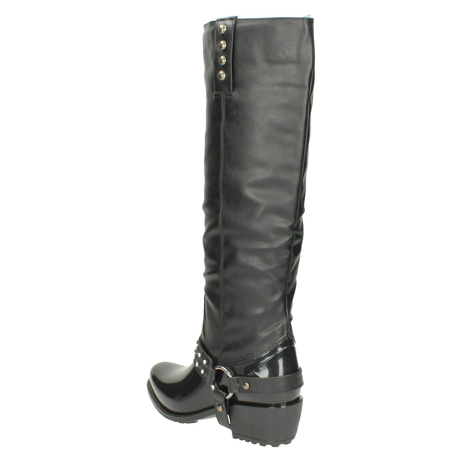 Ladies Spot On Chunky Heel Diamante Trim Strap Studded Boot X1137