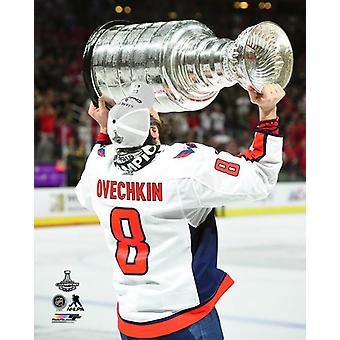 Alex Ovechkin with the Stanley Cup Championship Trophy Game 5 of the 2018 Stanley Cup Finals Photo Print