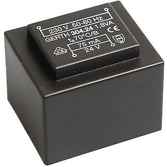 Gerth PT302401 PCB mount transformator 1 x 230 V 1 x 24 V AC 1.80 VA 75 mA