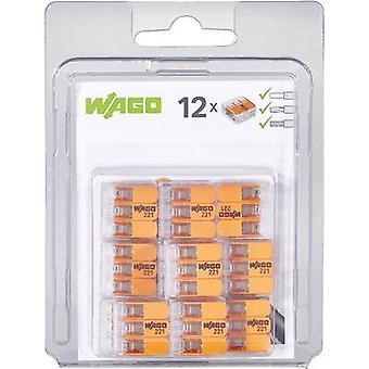 WAGO 221-413/996-012 221 Clip connettore flessibile: 0,14-4 mm² rigido: 0,2-4 mm² Numero di pin: 3 12 pc trasparenti, arancioni