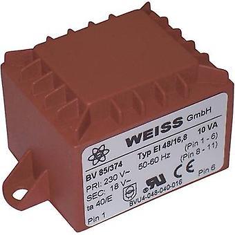 Weiss Elektrotechnik 85/372 PCB mount transformer 1 x 230 V 1 x 12 V AC 10 VA 833 mA