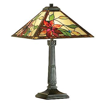 Interiors 1900 Lelani Red Flower Tiffany Lamp With Square Shade