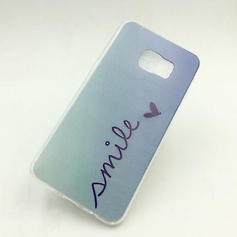 Étui pour Samsung Galaxy S6 bord de téléphone + cover case sac de protection motif slim silicone TPU lettrage sourire Blau