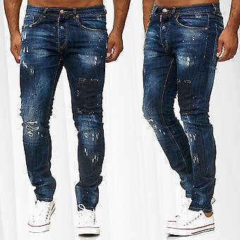Men's Jeans Pants Denim Used Look Style Trousers Destroyed Slim Fit Ripped