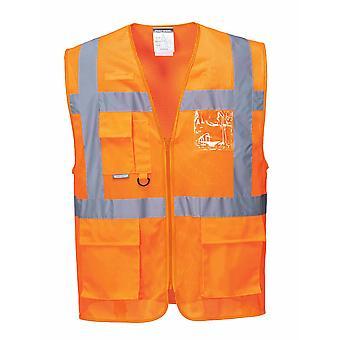 Portwest - Athens MeshAir HI-i-Vis Safety Workwear Executive Vest Orange Small