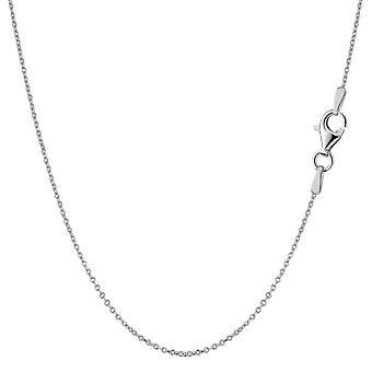 Sterling prata ródio chapeado cabo corrente colar, 0.8mm