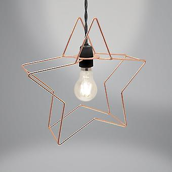 Country Club Metal Star Light Fitting, Copper