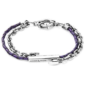 Anchor and Crew Belfast Silver and Leather Bracelet - Grape Purple