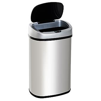 HOMCOM Stainless Steel Sensor Dustbin Automatic Touchless Trashcan Rubbish Garbage Waste Bin 48L