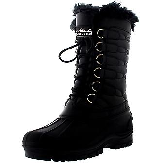 Womens Nylon Muck Regen wasserdichte thermische Kunstfell gesteppte Mid Calf Boot UK 3-10
