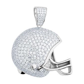Premium Bling - 925 sterlinghopea jalkapallo kypärän riipus