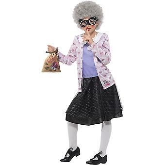 David Walliams Deluxe Gangsta nonna Costume, Fancy Dress, medio età 7-9
