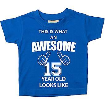 これは何の素晴らしい 15 年古いに見えるようなブルー t シャツです。