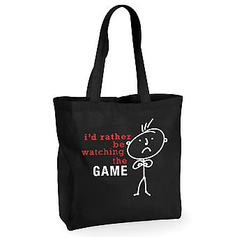 Mens I'd Rather Be Watching The Game Black Cotton Shopping Bag