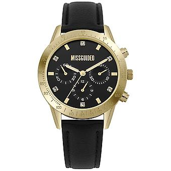 Missguided | Ladies | Black Leather Gold Case | MG004BG Watch