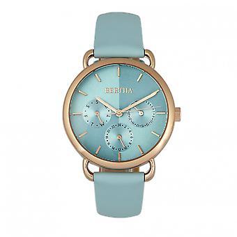 Bertha Gwen bőr-Band Watch w/nap/dátum-Seafoam
