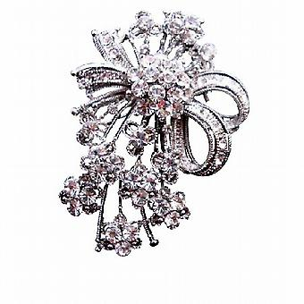 Dainty Brooch with Tiny Flowers Decorated Simulated Diamond CZ